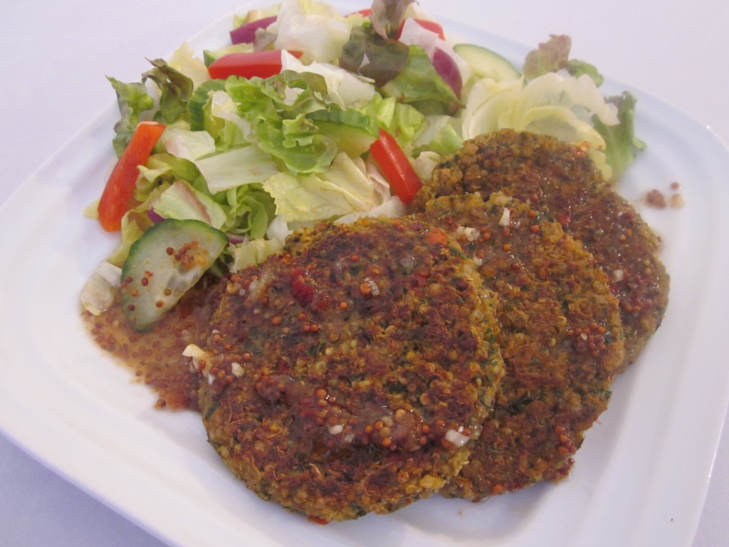 Quinoa Cakes Recipe with Sweet and Hot Lemon Garlic Sauce on plate