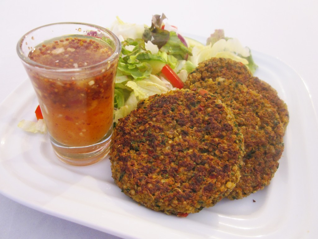 Quinoa Cakes Recipe with Sweet and Hot Lemon Garlic Sauce on the side