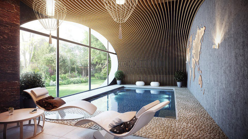 Creative interior design inspiration beautiful home for Swimming pool room ideas
