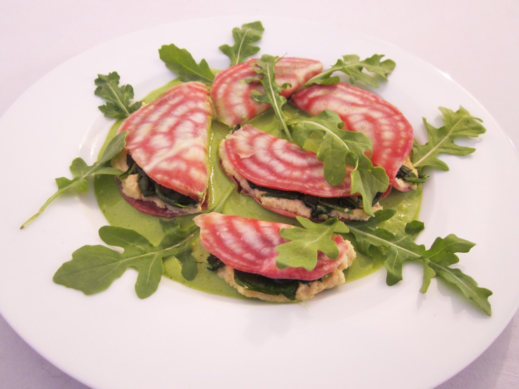 Beet Ravioli with Cashew Cheese, Wilted Spinach and Rocket Sauce