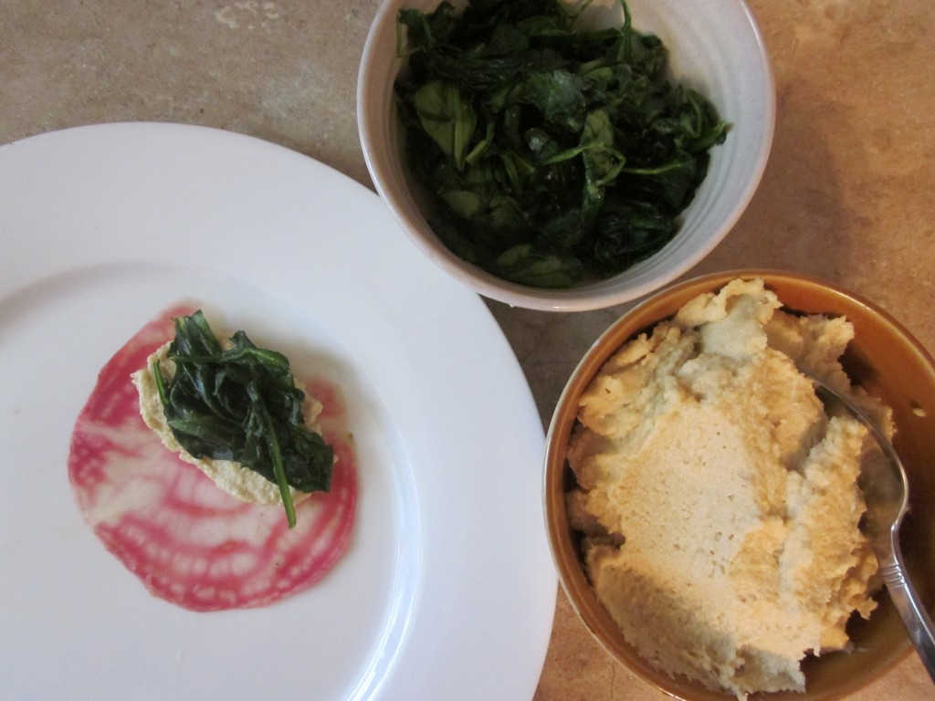 Beet Ravioli with Cashew Cheese, Wilted Spinach and Rocket Sauce ravioli stuffing