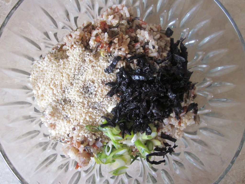 Brown Rice and Quinoa with Nori and Sesame Recipe - all ingredients in bowl