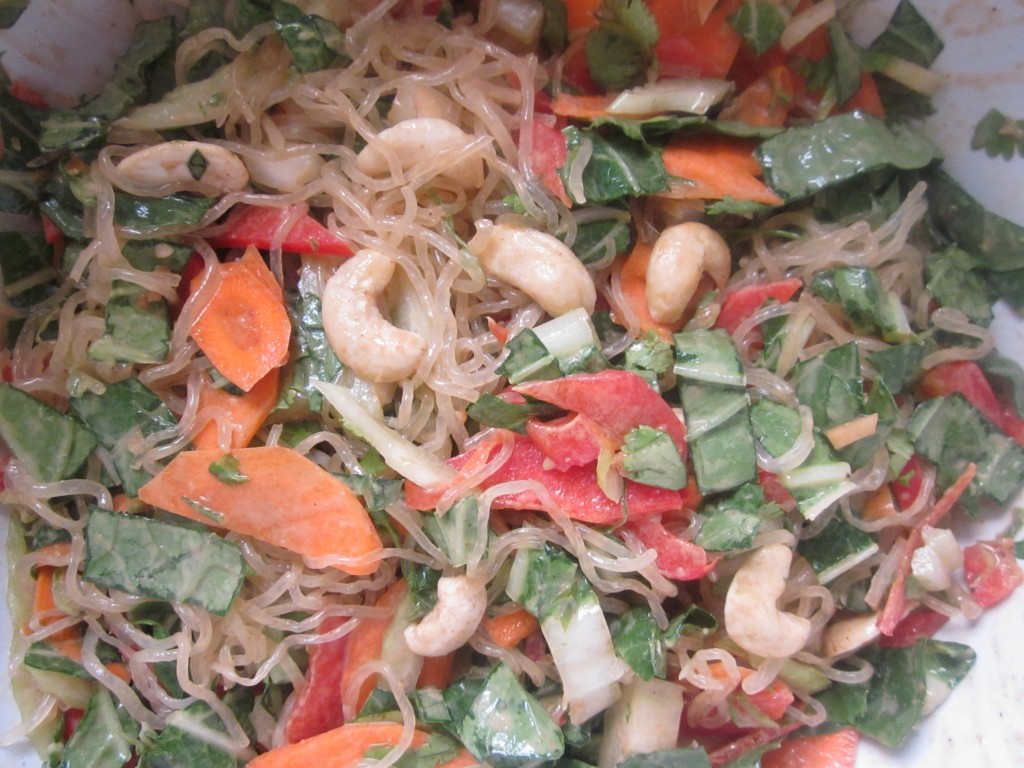 Cold Asian Noodle Salad Recipe with Kelp Noodles mixed in bowl