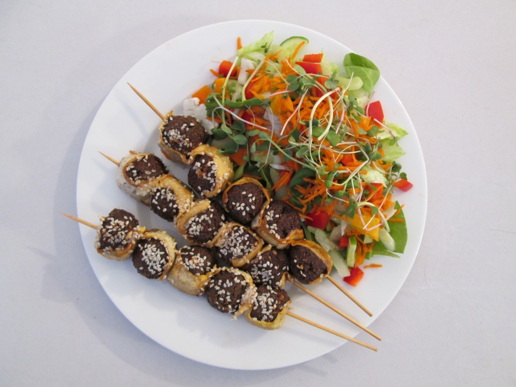 Zucchini and Nutmeat Skewers with Chili Garlic Sauce Recipe