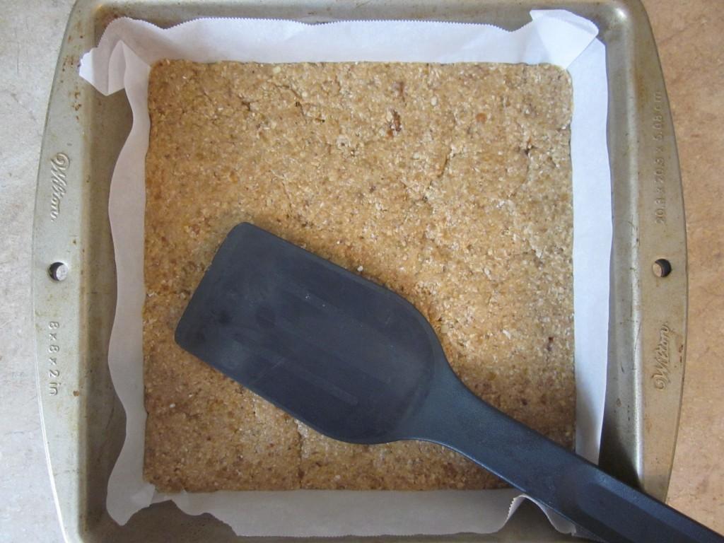 Luscious Vegan Lemon Squares Recipe - base flattened in pan