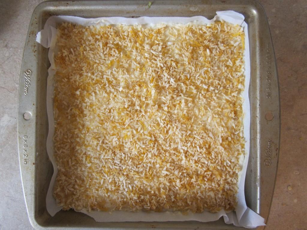 Luscious Vegan Lemon Squares Recipe - with topping in pan