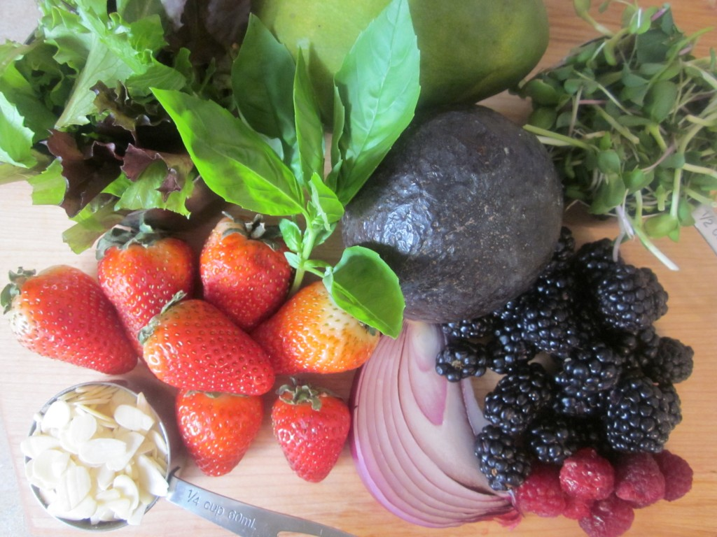 Mango Berry Avocado Salad Recipe with a Light Citrus Dressing ingredients