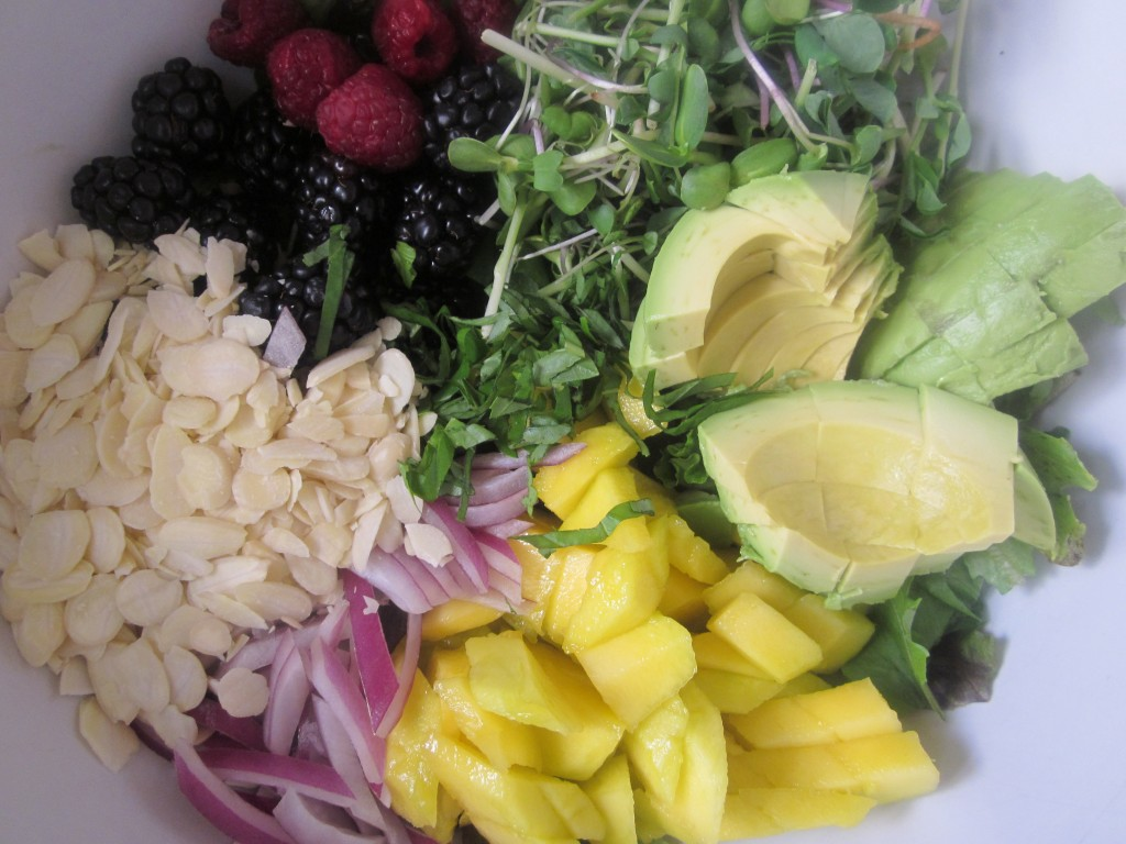 Mango Berry Avocado Salad Recipe with a Light Citrus Dressing ingredients in bowl