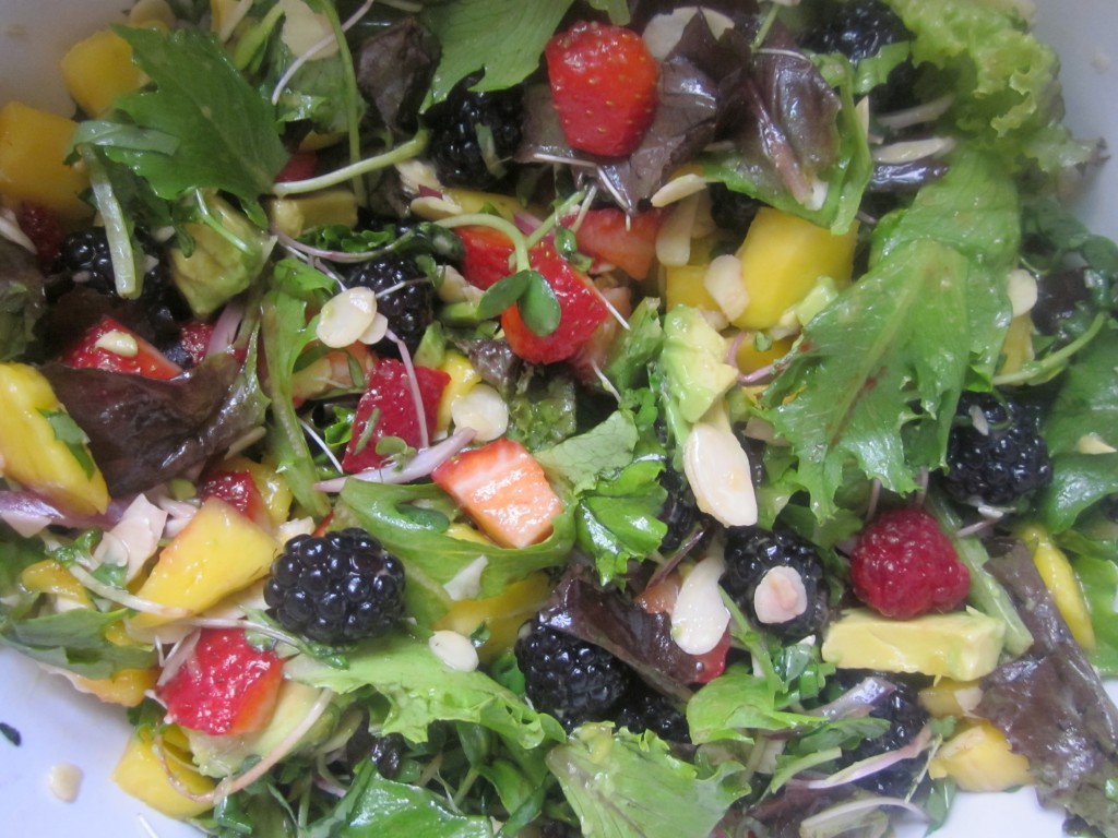 Mango Berry Avocado Salad Recipe with a Light Citrus Dressing mixed in bowl
