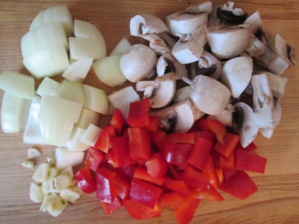 Nutmeat Patties Recipe ingredients - veg chopped