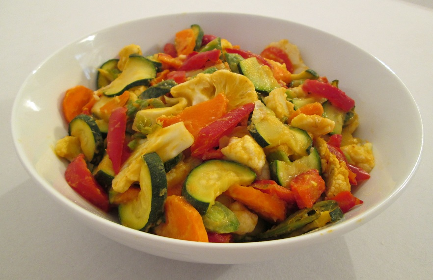 Softened Vegetables in a Spicy Mango Pineapple Sauce Recipe