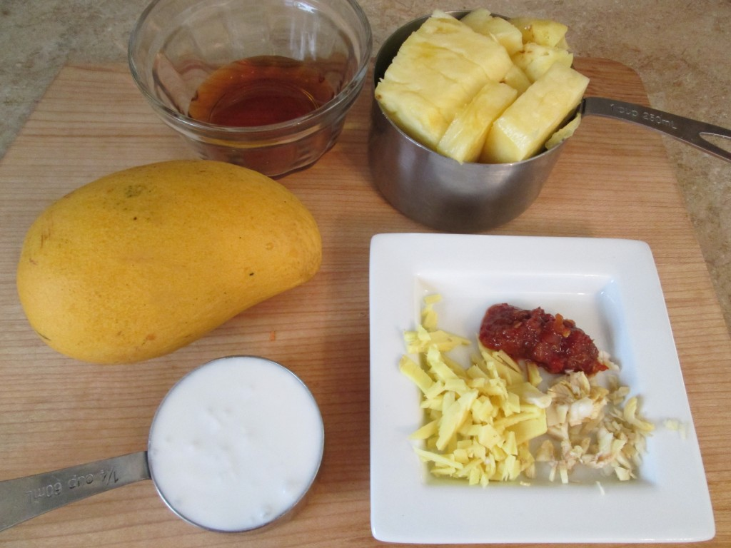 Softened Vegetables in a Spicy Mango Pineapple Sauce Recipe - sauce ingredients