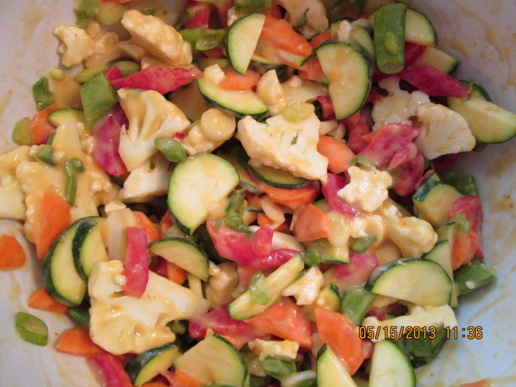 Softened Vegetables in a Spicy Mango Pineapple Sauce Recipe - vegetables. and sauce mixed