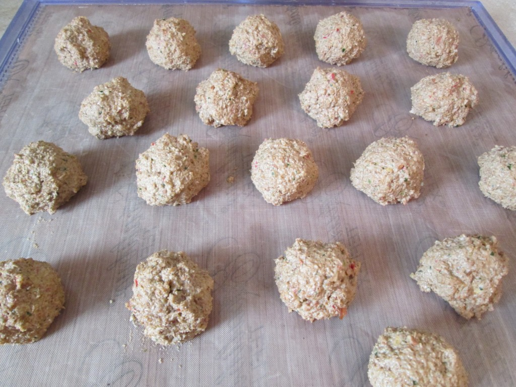 Zucchini and Nutmeat Skewers with Chili Garlic Sauce Recipe - nutmeat balls