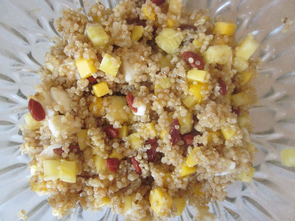Tropical Sunshine Quinoa Cereal Recipe - ingredients mixed in bowl