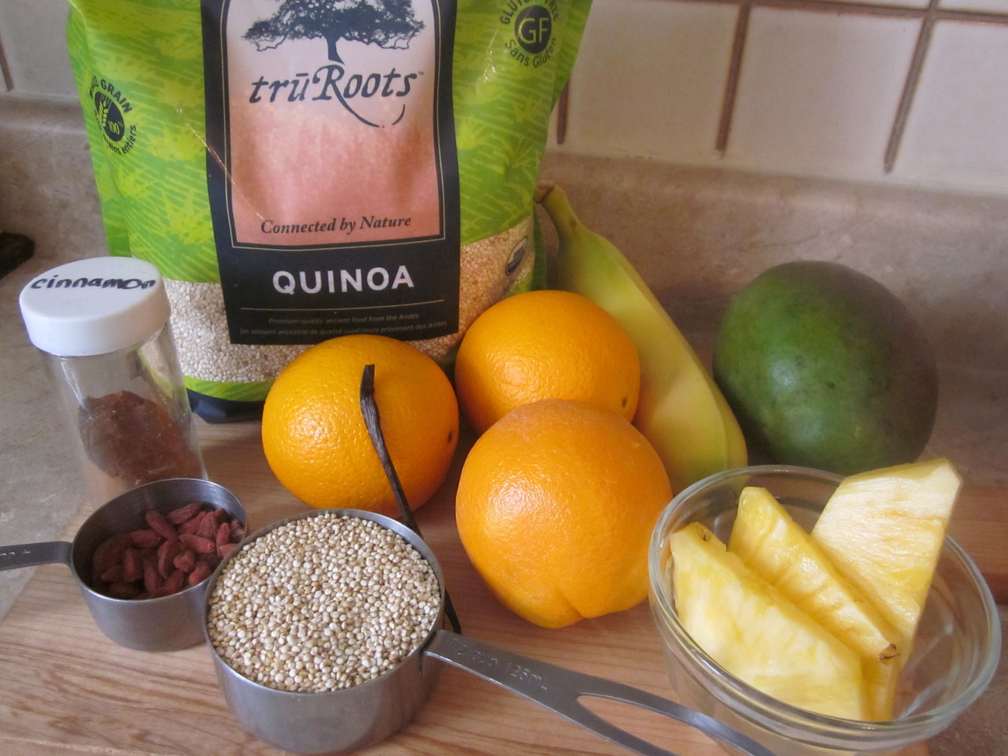 Tropical Sunshine Quinoa Cereal Recipe - ingredients