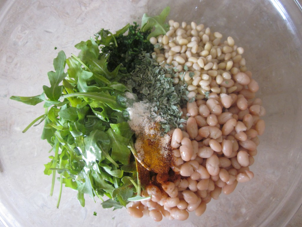 White Beans and Pine Nuts with Arugula and Kale Recipe - ingredients in bowl