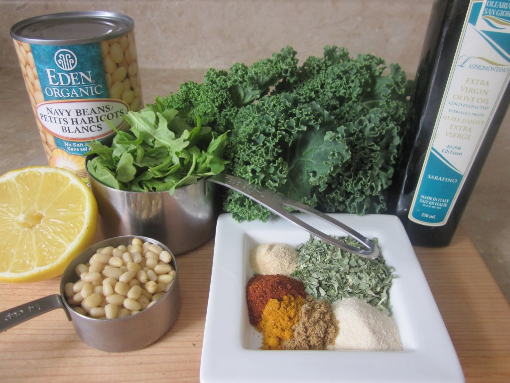 White Beans and Pine Nuts with Arugula and Kale Recipe - ingredients