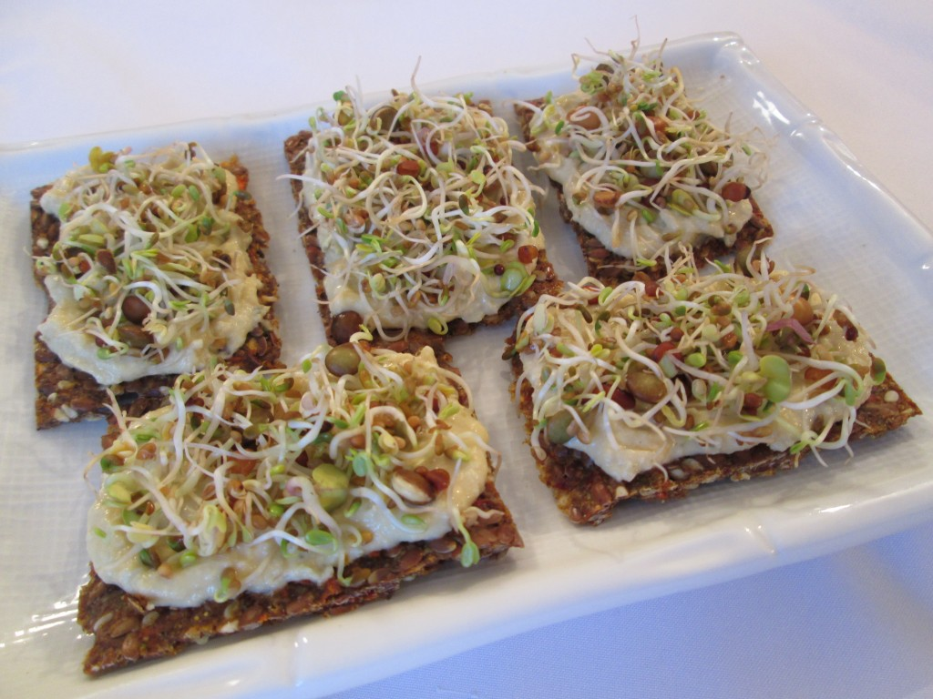 Dragon Flax Crackers with Hummus and Sprouts