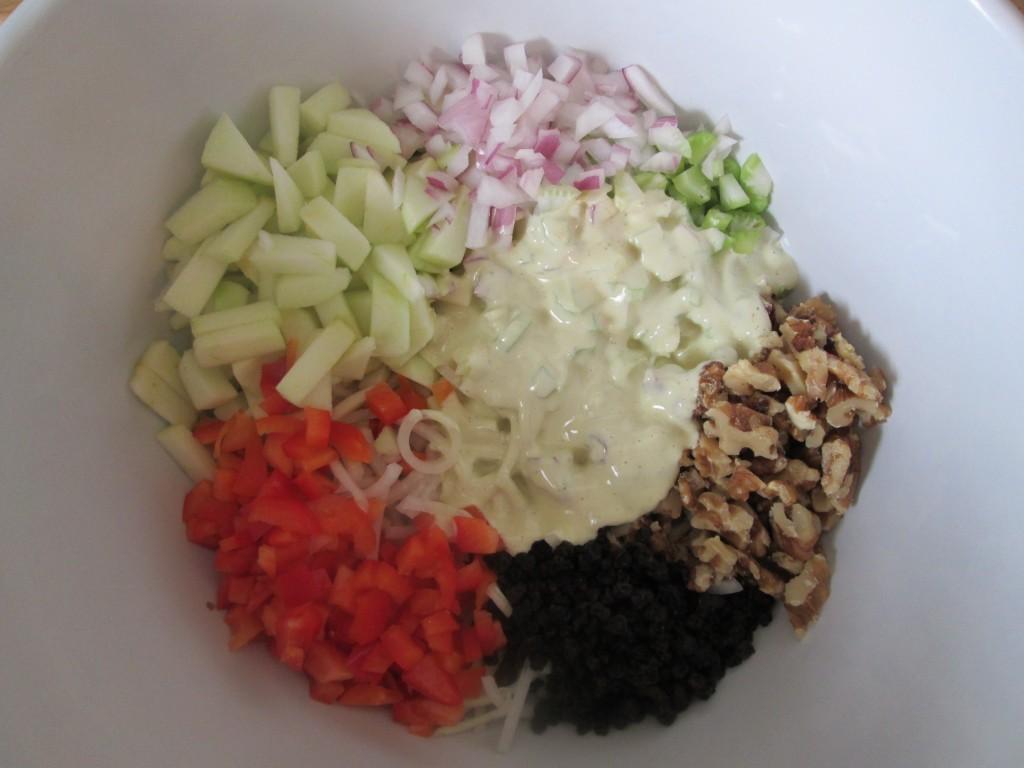 Creamy Kohlrabi Salad Recipe - ingredients in bowl