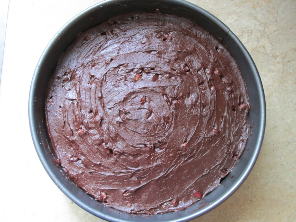 Pomegranate and Chocolate Coconut Cream Cake - cake in pan