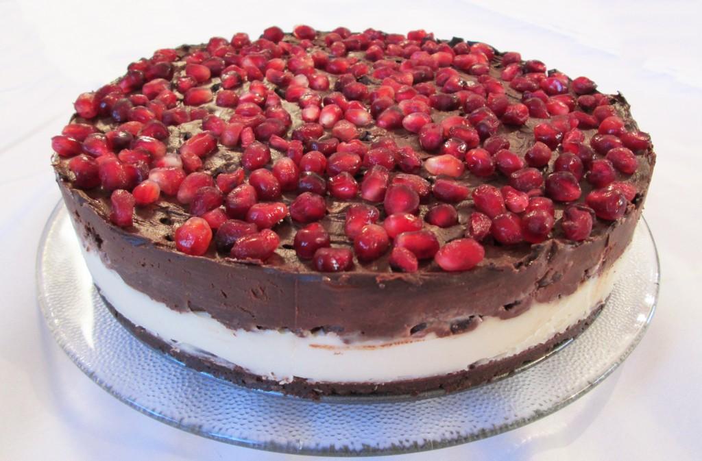 Pomegranate and Chocolate Coconut Cream Cake Recipe