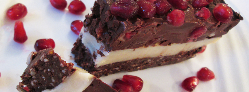 Pomegranate and Chocolate Coconut Cream Cake Recipe slice 5