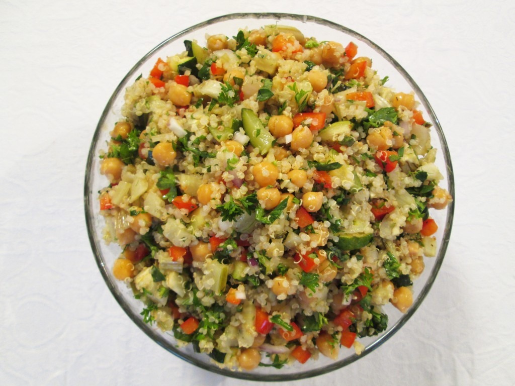Chickpea Quinoa Salad with Roasted Vegetables in bowlQuinoa Chickpea Salad Recipes