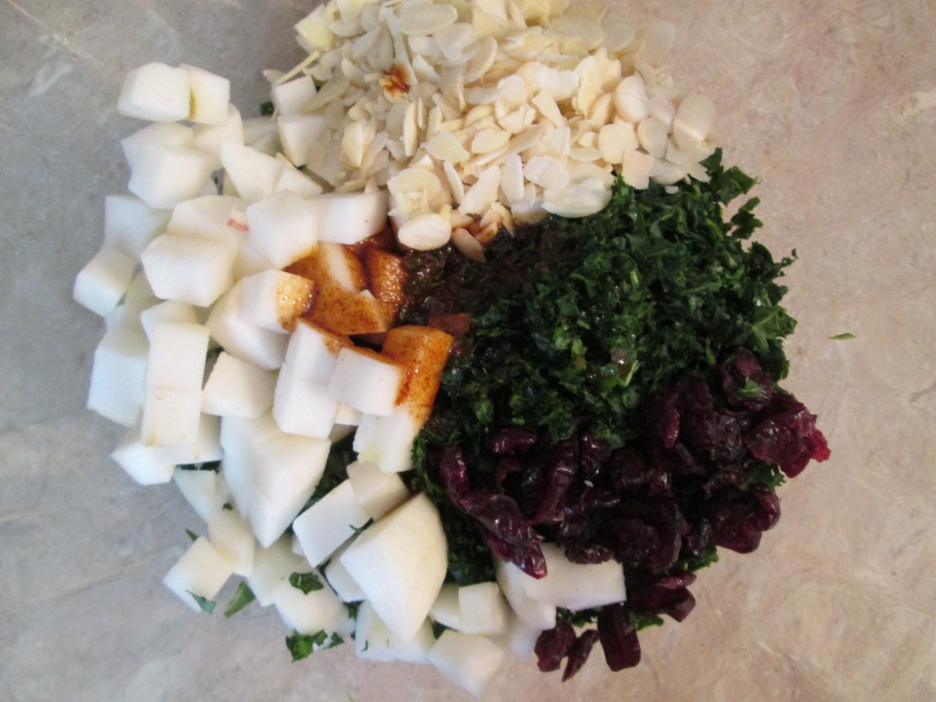 Smoked Apple and Kale Salad Recipe - 5 ingredients in bowl