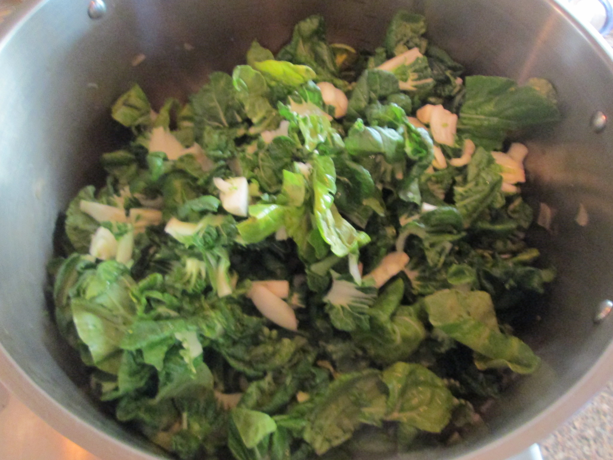 Zucchini Eggplant Green Curry Recipe with Quinoa - 6 bok choy in pot