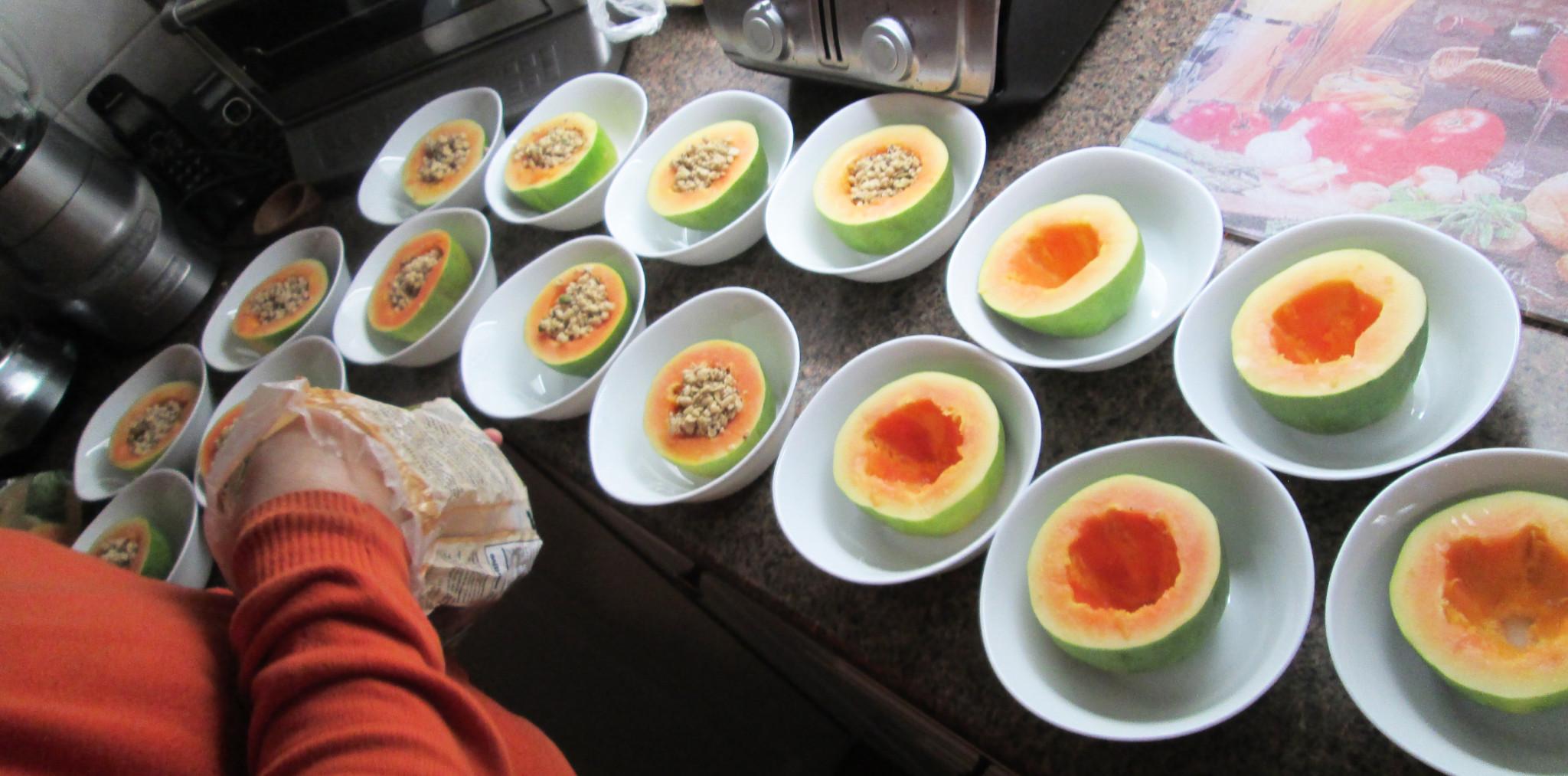 Andre making the Papaya Bowls