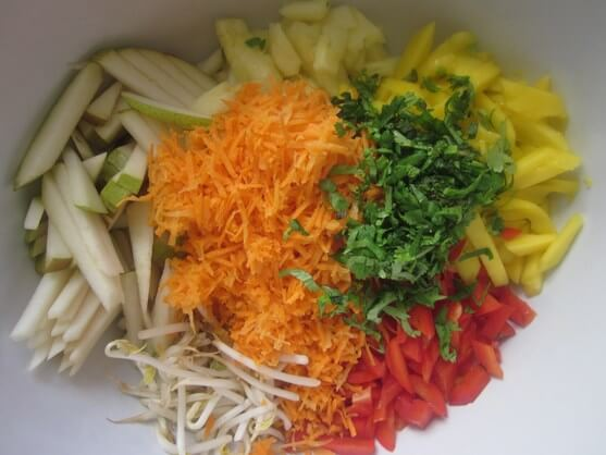 Sweet and Spicy Fruit and Vegetable Salad Recipe - 4 add all ingredients to bowl
