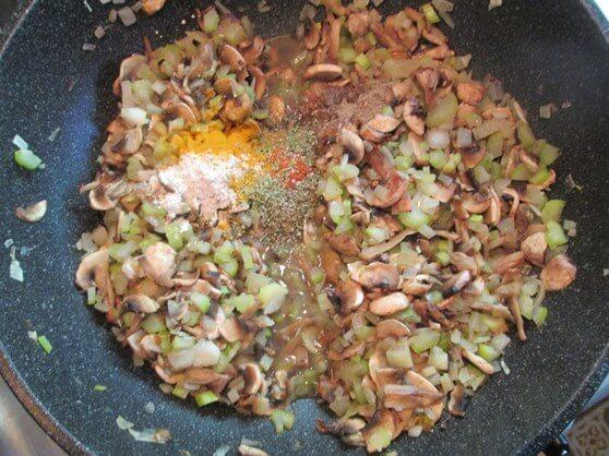 Vegan Mushroom and Lentil Shepherd's Pie - bottom 10 spices in onions mushrooms