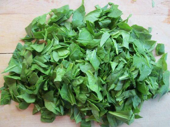 Vegan Mushroom and Lentil Shepherd's Pie - bottom 14 spinach chopped