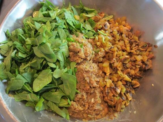 Vegan Mushroom and Lentil Shepherd's Pie - bottom 15 base layer mixing