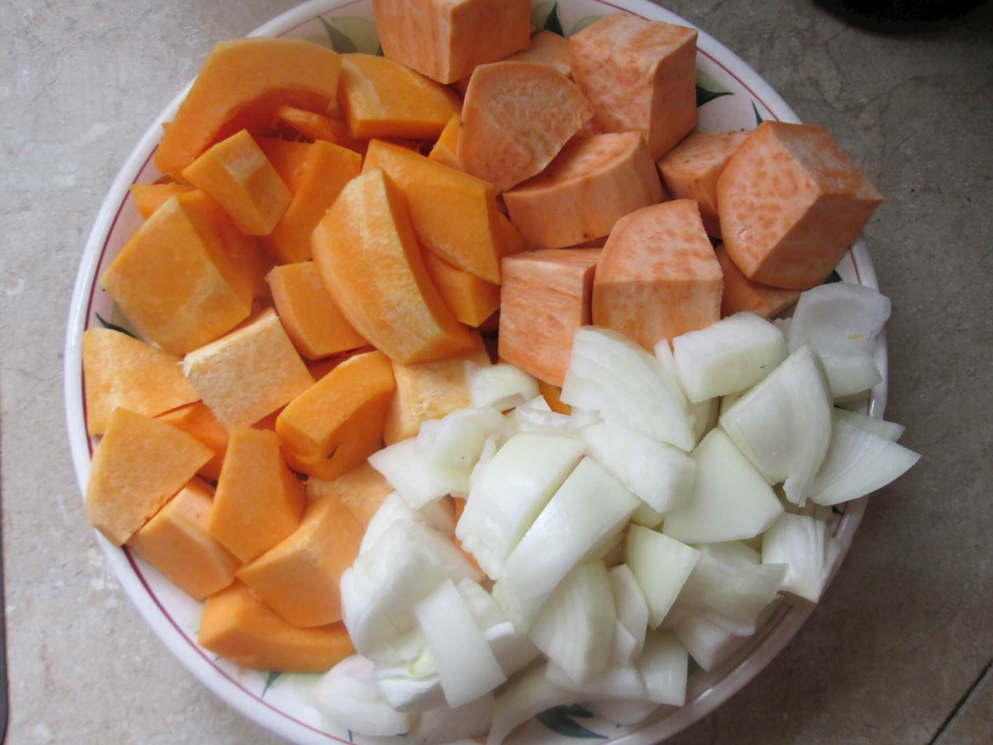 Spiced Root Vegetable Soup Recipe - 1 sweet potatoes, squash and onions